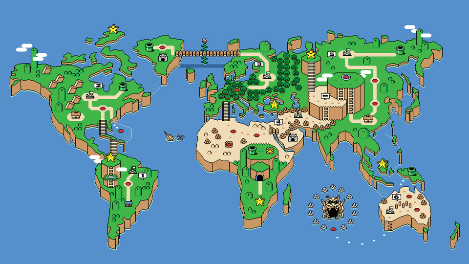 A illustration of Earth themed as the Super Mario World overworld.
