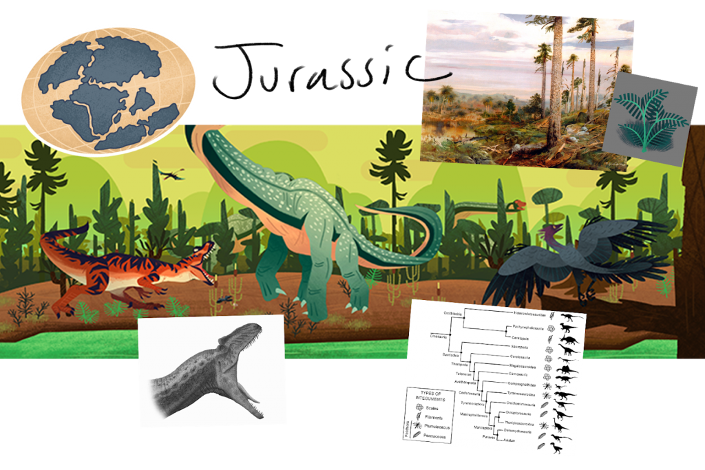 Various mood board assets alongside art from Mission to the Mesozoic